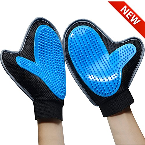 Bonve Pet Dog Grooming Glove – Efficient Pet Deshedding Brush Glove Best Hair Remover for Long Short Hair Dogs Cats blue … Review