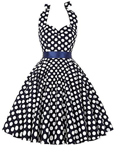 Stock Retro Vintage Halter Polka Dots Party Picnic Dress Size M Navy Blue ()