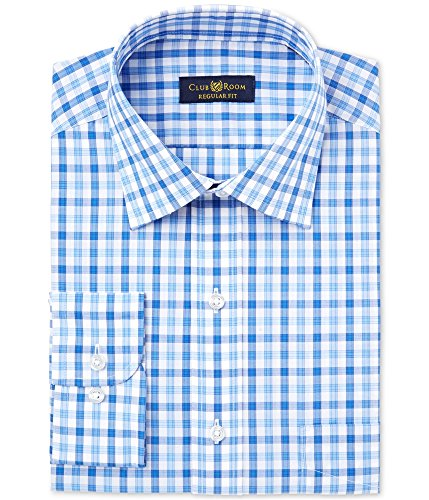 Club Room Mens Wrinkle Resistant Button Up Dress Shirt Blue 15 1/2 from Club Room