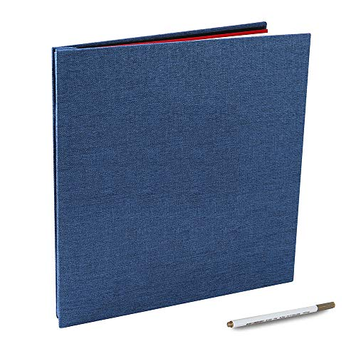 Self Adhesive Photo Album Magnetic Scrapbook 40 Pages with a Metallic Pen (Linen Bleu, 13x12.6 inches)