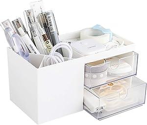 Small Desk Organizer for Women Girls, Desk Storage Box, Desktop Storage with Drawers, Vanity Storage with 5 Compartments, Makeup Organizer, Desktop Organizer for Office School Home White/Plastic