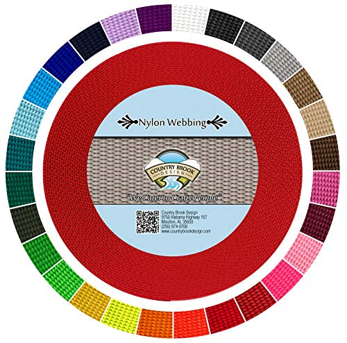 Country Brook Design - Durable 1 Inch Heavy Nylon Webbing - 29 Vibrant Colors (Bright Red, 10 Yards)