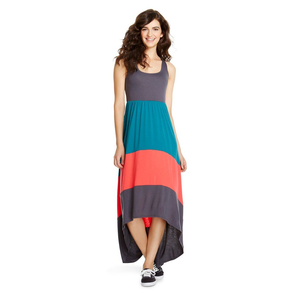 ea2c31186ec0 Mossimo Supply Co Women's High Low Racerback Sleeveless Charcoal/Navy/Coral  Maxi Dress at Amazon Women's Clothing store: