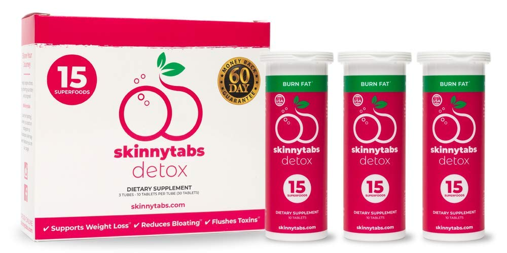 Skinnytabs -- Berry Flavor -- Effervescent Skinny Tabs Detox -- 15 All-Natural Superfoods, Laxative-Free, 30 Servings -- Sugar-Free, Low Carb -- Flush Toxins, Reduce Bloating & Supercharge Metabolism by Skinnytabs (Image #2)