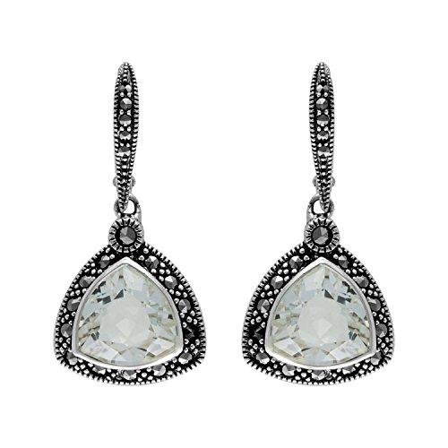 Aura 925 Sterling Silver Earring White Quartz,Marcasite