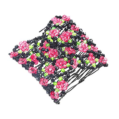 Women Double Hair Comb Magic Beads Floral Elasticity Clip Stretchy Fashion Clips (Hot Pink)