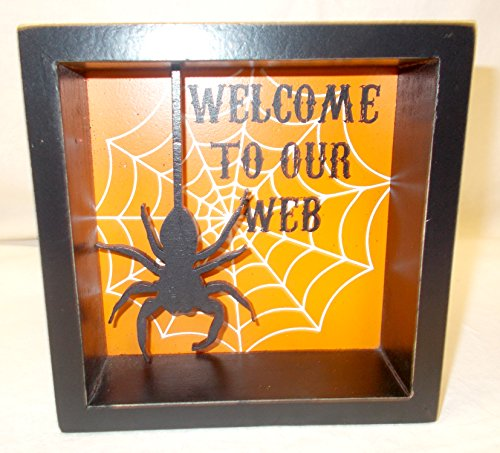 Black Orange White Halloween Welcome To Our Web Sign 6in x 6in NIP ()