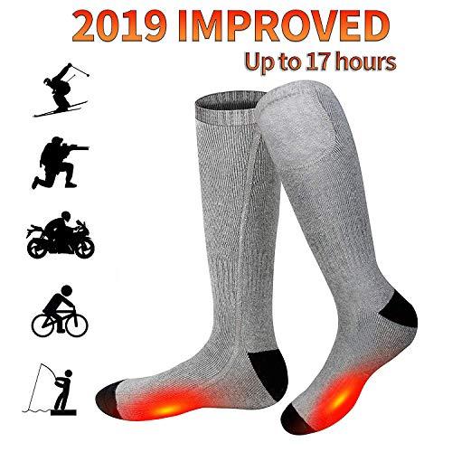 Battery Heated Socks - Rechargeable Heating Socks, Winter Electric Thermal Socks Foot Warmers for Men Women Sport Outdoor (Grey US Size 6-12)
