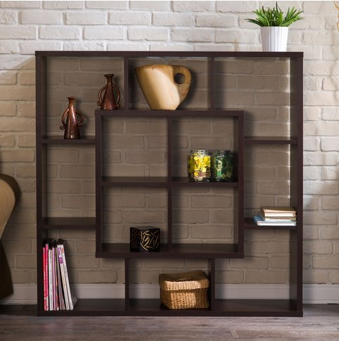 Furniture of America Aydan Contemporary Modern Square Walnut Living Room Display Shelf Bookcase Room Divider by Furniture of America