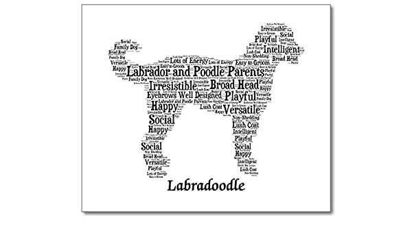 Dog Print Silhouette Labradoodle #2 Portrait Custom Name Pet Accessories Pet Art Christmas Gift