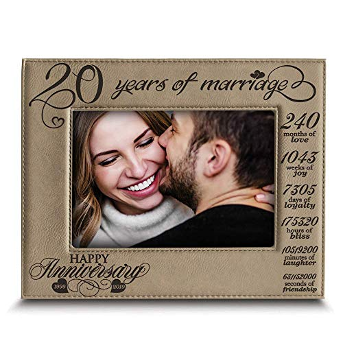- Bella BUSTA-20 Years of marriage-1999->2019-Months, Weeks, Days, Hours, Weeks, Minutes, Seconds-20th Anniversary- Engraved Leather Picture Frame (5