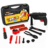 Fannel Kids Tool Set Electronic Cordless Drill 15 Pretend Play Construction Accessories a Sturdy Case (2018