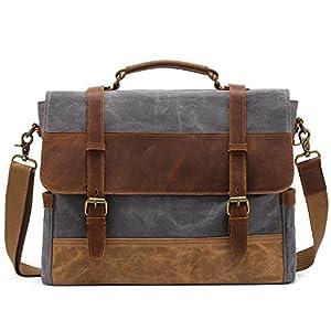 Kattee Canvas Leather Messenger Bag for Men, Vintage Briefcase Satchel Shoulder Bag