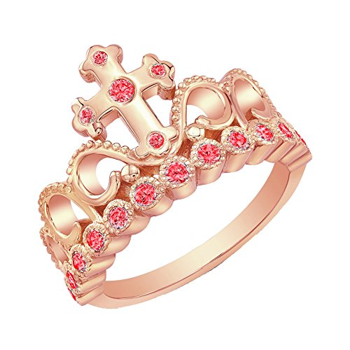 - 14K Rose Gold Ruby Cross Crown Ring