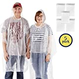 Organized Explorers Rain Poncho with Drawstring Hood - 5 Pack of Clear Emergency Adult Ponchos from Lightweight yet Strong, Reusable or Disposable - Perfect for Hiking, Sightseeing & Festivals