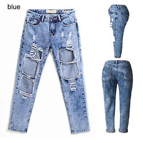 WENJHEN - Vaqueros - Cintura Alta - para mujer Azul