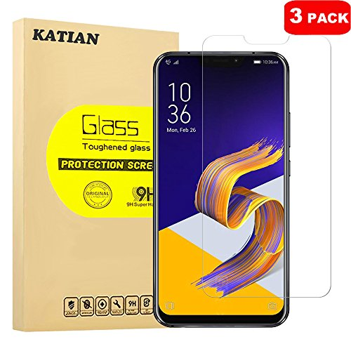 [3 Pack] ASUS ZenFone 5Z ZS620KL Screen Protector, KATIAN HD Clear Protector [Anti-Scratch] [Anti-Fingerprint] [No-Bubble] [Case-Friendly], 9H Hardness Tempered Glass Screen Film