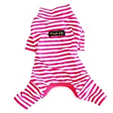 Hdwk&Hped Soft Cotton Dog Pajamas, Carmine Stripes Small Dog Puppy Cat...
