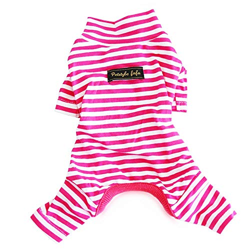 Hdwk&Hped Soft Cotton Dog Pajamas, Carmine Stripes Small Dog Puppy Cat Jumpsuit Style #4 -