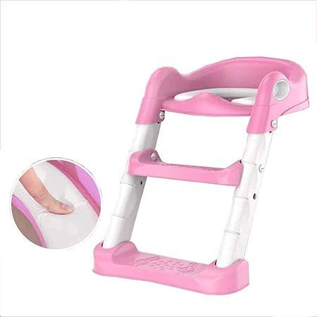LJQ Escalera Plegable, Escalera de Inodoro Acolchada, Inodoro Infantil, fácil de Montar, cómoda, Segura, escaleras Antideslizantes, Adecuada para niños y niñas,Pink: Amazon.es: Hogar