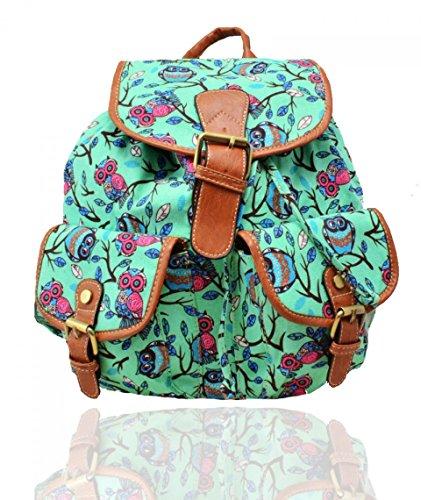 Craze London - Bolso mochila  de Lona para mujer Floral Owl-Green