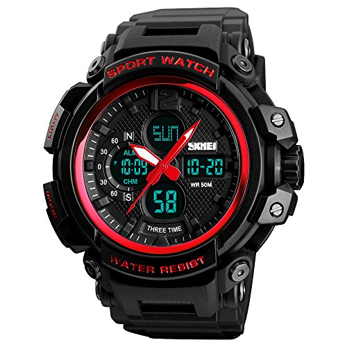 SKMEI Sports Watch Mens Quartz Digital Watch Big Face LED Back Light Chronograph Waterproof Alarm Wrist Watch for Boys (Alarm Analog Chronograph)