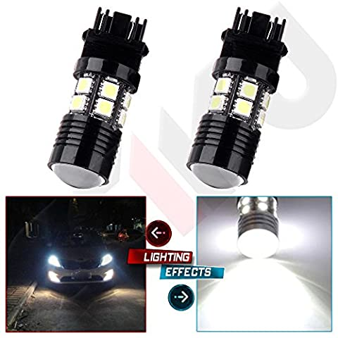 CCIYU 2 Pack 3157 White 6000K Projector Cree+12 SMD Chip LED Lights Bulbs for Tail Brake Front and Rear Side Marker Light Fit 2014-2015 Jeep (2002 Ford Focus Brake Light)