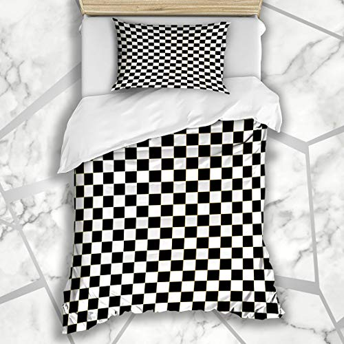 Ahawoso Duvet Cover Sets Twin 68X86 Check Race Checkered Racing Abstract Car Line Wave Auto Design Microfiber Bedding with 1 Pillow Shams