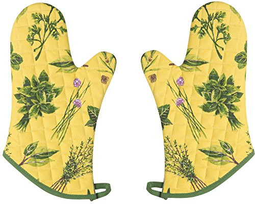 Now Designs Basic Oven Mitts, Set of Two, Les Fines Herbes ()