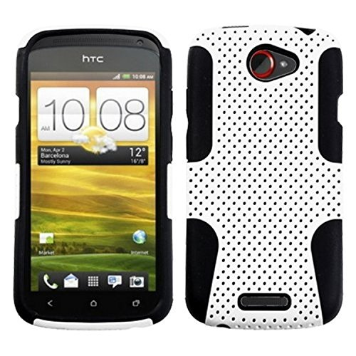 Asmyna AHTCONESHPCAST004NP Astronoot Premium Hybrid Case with Durable Hard Plastic Faceplate for HTC One S - 1 Pack - Retail Packaging - White/Black