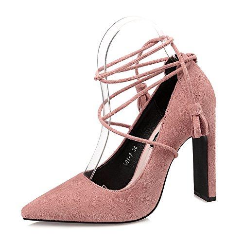 De Durmientes Cm Flecos Tacon Roma Señaló Zapatos Zapatos pink Alto Solo 10 Xiaogao qTBtn