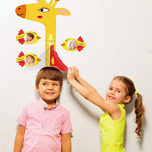 ASOFT 3D Magnetic Photo Frame Growth Chart, Magnetic Movable Measurement Height Chart for Kids, Giraffe Wall Decor, boy Girl (Cute) ()