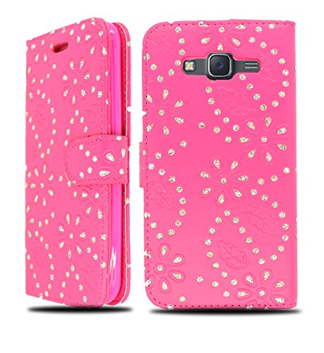 NWNK13® Samsung Galaxy A3 (2016) Pu Leather Book Wallet Case Cover + Mini Stylus Pen, Screen Protector & Polishing Cloth (Galaxy A3 (2016) Glitter Pink)