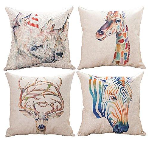 HAIWEN Decor Throw Pillow Cushion Cover for Sofa & Bed Home Decor Design,4 Packs Cushion Cases,Cotton Linen,18x18 inch Couch Cushion Covers,Colorful Animals,Giraffe +Zebra+Rhinoceros+Deer