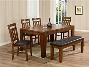 6PC Dining Table Chairs And Bench Set Kitchen Dining