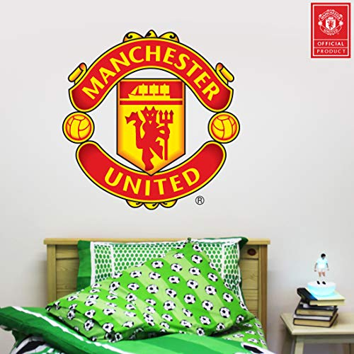 Beautiful Game Ltd Manchester United Football Club Official Crest Wall Sticker + Man Utd Logo Decal Set Vinyl Poster Print Mural Art (120cm)