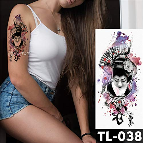 LVGU Temporary Tattoo 8pcs differernt Waterproof Body Art Painting Arm Sleeve Tattoo Japanese Geisha Lotus Flower Women Design Temporary Fake Tattoo 9X19Cm