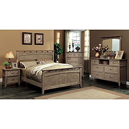 Amazon Com Loxley Transitional Style Bleach Oak Finish Cal King