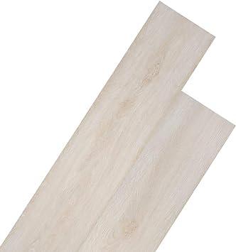 vidaXL 36x Lamas de Suelo Baldosa Loseta Tarima Flotante Azulejo Antiestático Ignífugo Impermeable Antideslizante 5,02 m² PVC 2mm Roble Clásico Blanco