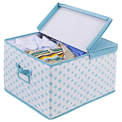 (Homyfort Foldable Storage Box with Lid,Sturdy Canvas Fabric Closet Shelves Organizer,Nursery Hamper Basket Bins for Clothes,Kid's Toys,Home,Office Blue with Flower Printing)