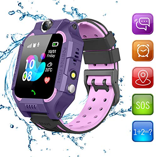 Beacon Pet Kids Smart Watches for Girls Boys with GPS Tracker SOS Call Alarm Clock Camera Touch Screen Sport Intelligent Smartwatch HD Spy Safety Phone Watch for Kid Birthday Gift (Purple)
