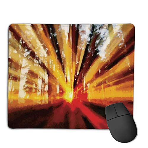 Computer Mouse Cushion and Natural Rubber Back and Cloth Surface,Country Decor,Photo of Magical Sunbeams Lighting Through Trees at Sunset in The Forest Nature Print,Yellow Orange,Applies to Games,ho