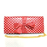 Polka Dot Bow Tie Chain Shoulder Clutch (Red), Bags Central