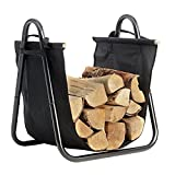Image of Fireplace Log Holder with Canvas Tote Carrier Indoor Fire Wood Rack Black Firewood Storage Holders Log Bin Heavy Duty Fire Logs Stacker Basket with Handles Kindling Wood Stove Accessories