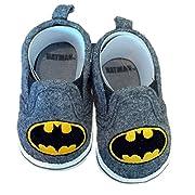 Batman Boys Baby Infant Crib Shoes Slippers, DC Comics, Black/Grey/Yellow (2 (6-9 Months))