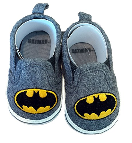 Batman Boys Baby Infant Crib Shoes Slippers, DC Comics, Black/Grey/Yellow (1 (3-6 Months)) (Cribs Baby Dc)