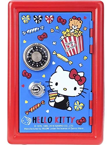 Hello Kitty Metal Safe Bank Coin Money Case Storage Box with Dial Combination Lock & Key -