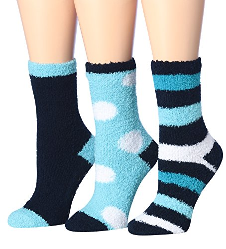 Tipi Toe Women's 3-Pairs Winter Snoflakes Anti-Skid Soft Fuzzy Crew Winter Socks, (sock size 9-11) Fits shoe size 6-10, FZ08-B -