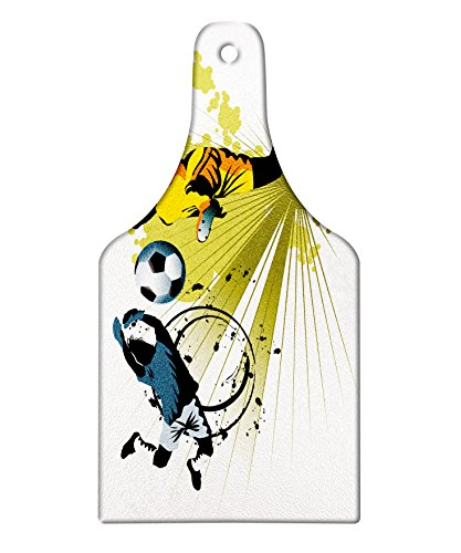 Lunarable Boy's Room Cutting Board, Soccer Player Attack Gate of the Opponent Jumping Goalkeeper Abstract Colorful, Decorative Tempered Glass Cutting and Serving Board, Wine Bottle Shape, Multicolor by Lunarable
