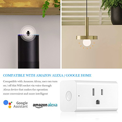 Smart Outlet, ONEVER WiFi Enabled Mini Remote Control Timer Switch Compatible with Google Home & Amazon Echo Alexa US Plug (Pack of 4X) by ONEVER (Image #4)